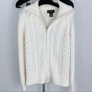 Eddie Bauer Cream Colored Knit Zip-Up Sweater MedP
